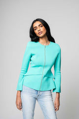 CREPE KNIT TAILORED PEPLUM JACKET MINT