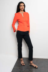 CREPE KNIT TAILORED PEPLUM JACKET TANGERINE