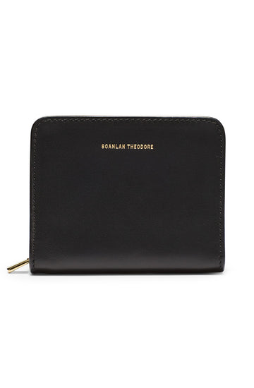 Small Wallet, four credit card slots, three internal compartments, gold contrast zip, gold embossed logo, color nero
