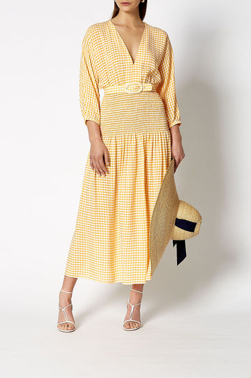 GINGHAM SHIRRED DRESS SUNFLOWER