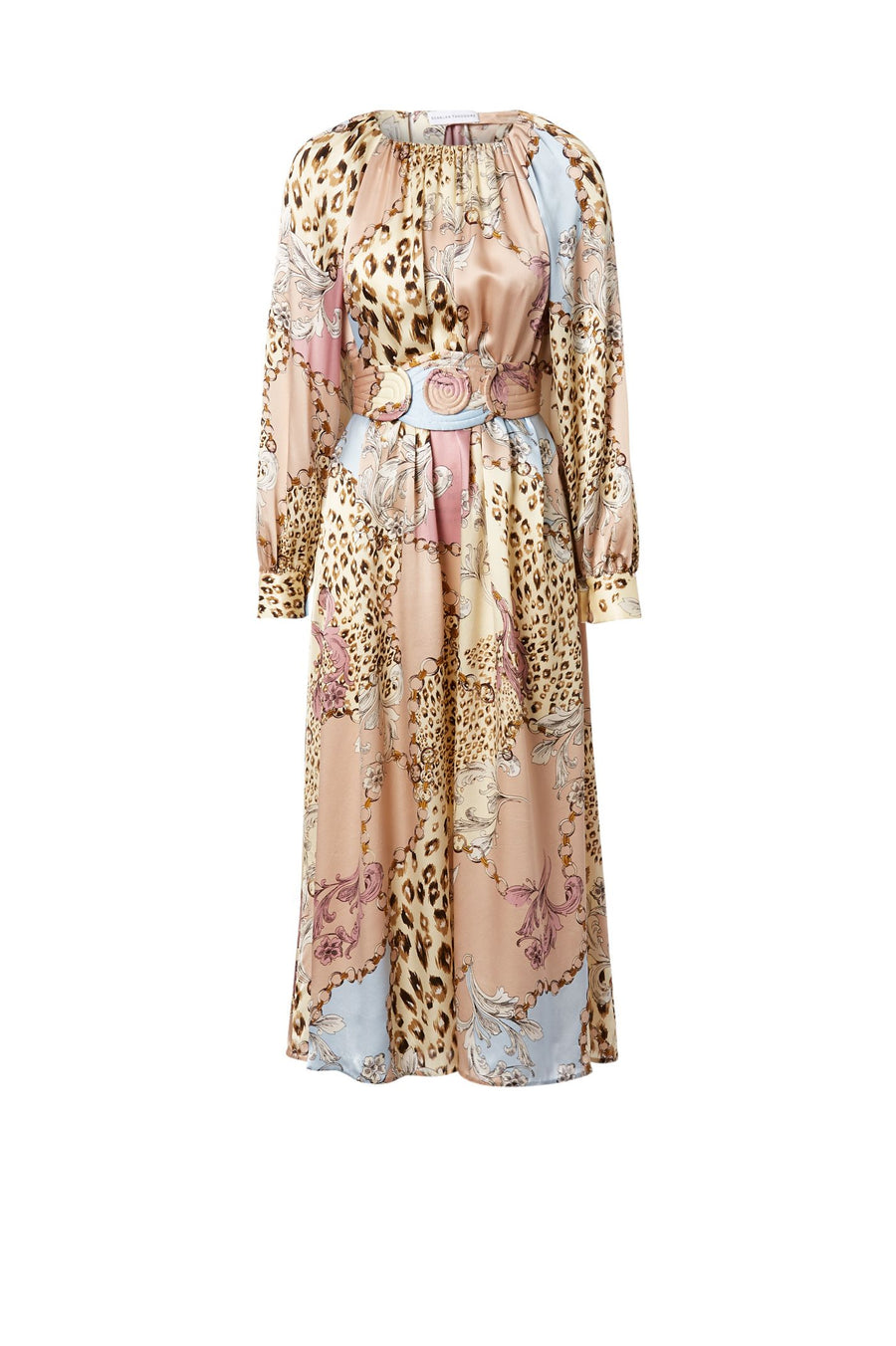 Silk Animal Chain Print Dress Nacello, midi length, ruched halter neckline, long draped sleeves