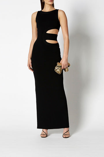 Crepe Knit Gown Black, Maxi length, Slit back opening