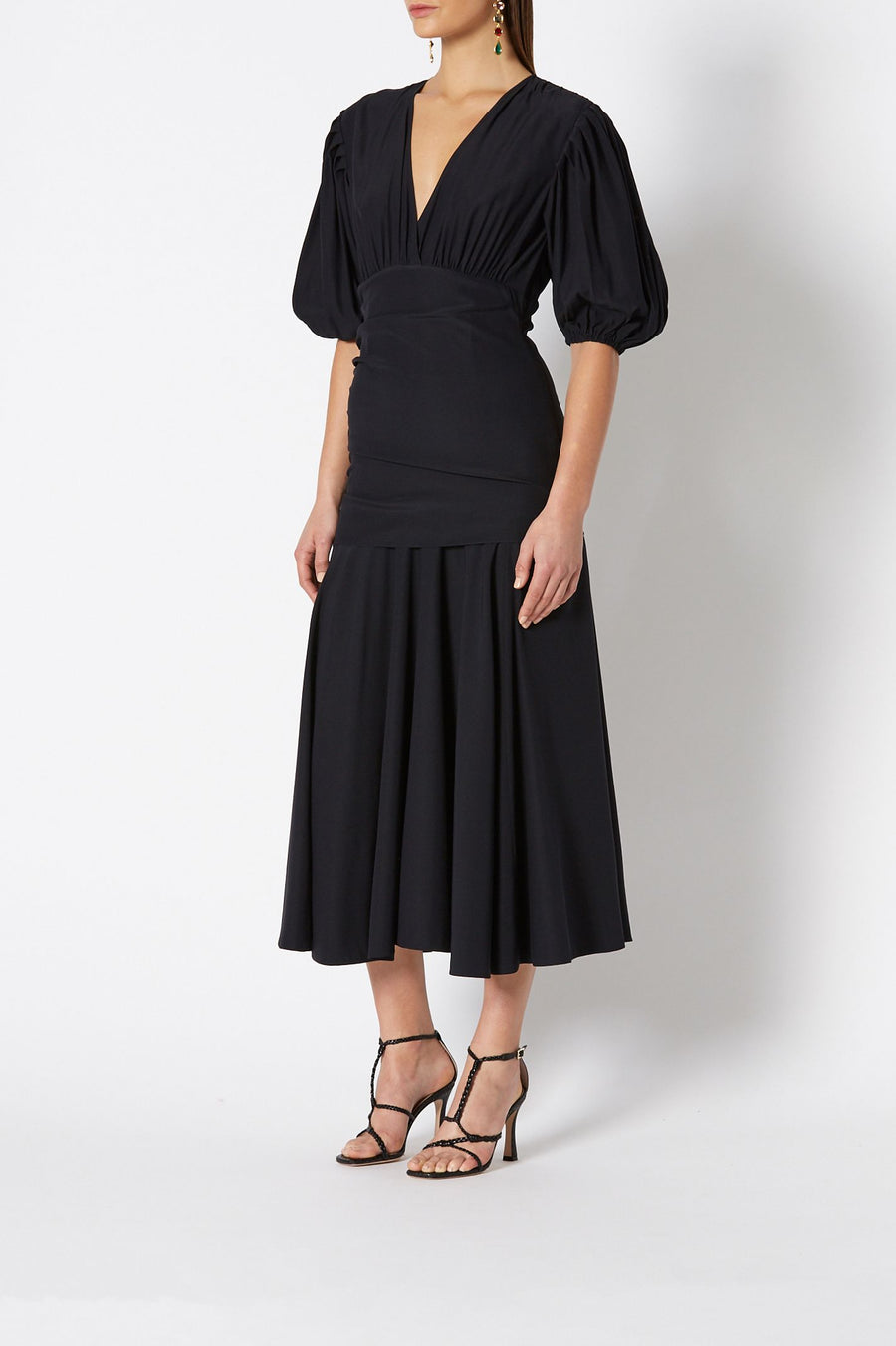 Women's Woven Coupe Sleeve Dress, Fabric from Italy