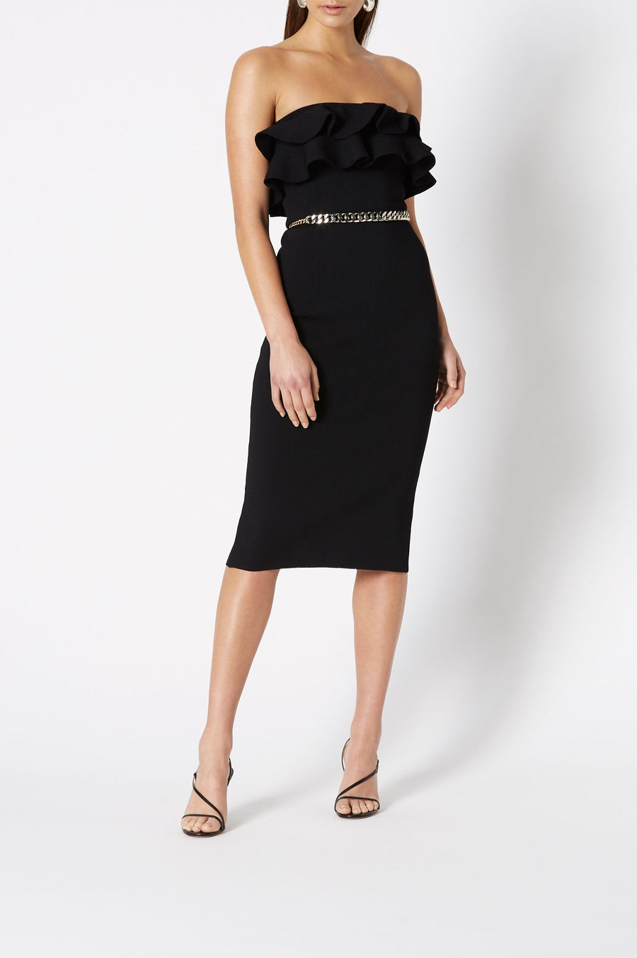 Crepe Knit Strapless Ruffle Dress, Midi Length, Color Black, Strapless