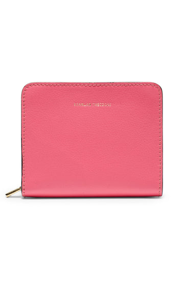 Small Wallet, four credit card slots, three internal compartments, gold contrast zip, gold embossed logo, color fuschia