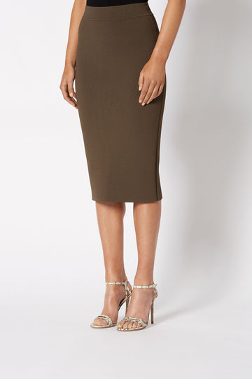 CREPE KNIT SLIT BACK SKIRT CAFE