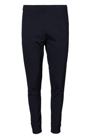 Low Rise Sweat Pant, slim dropped crotch, slanted front pockets, a back jet pocket and tapered leg, color navy
