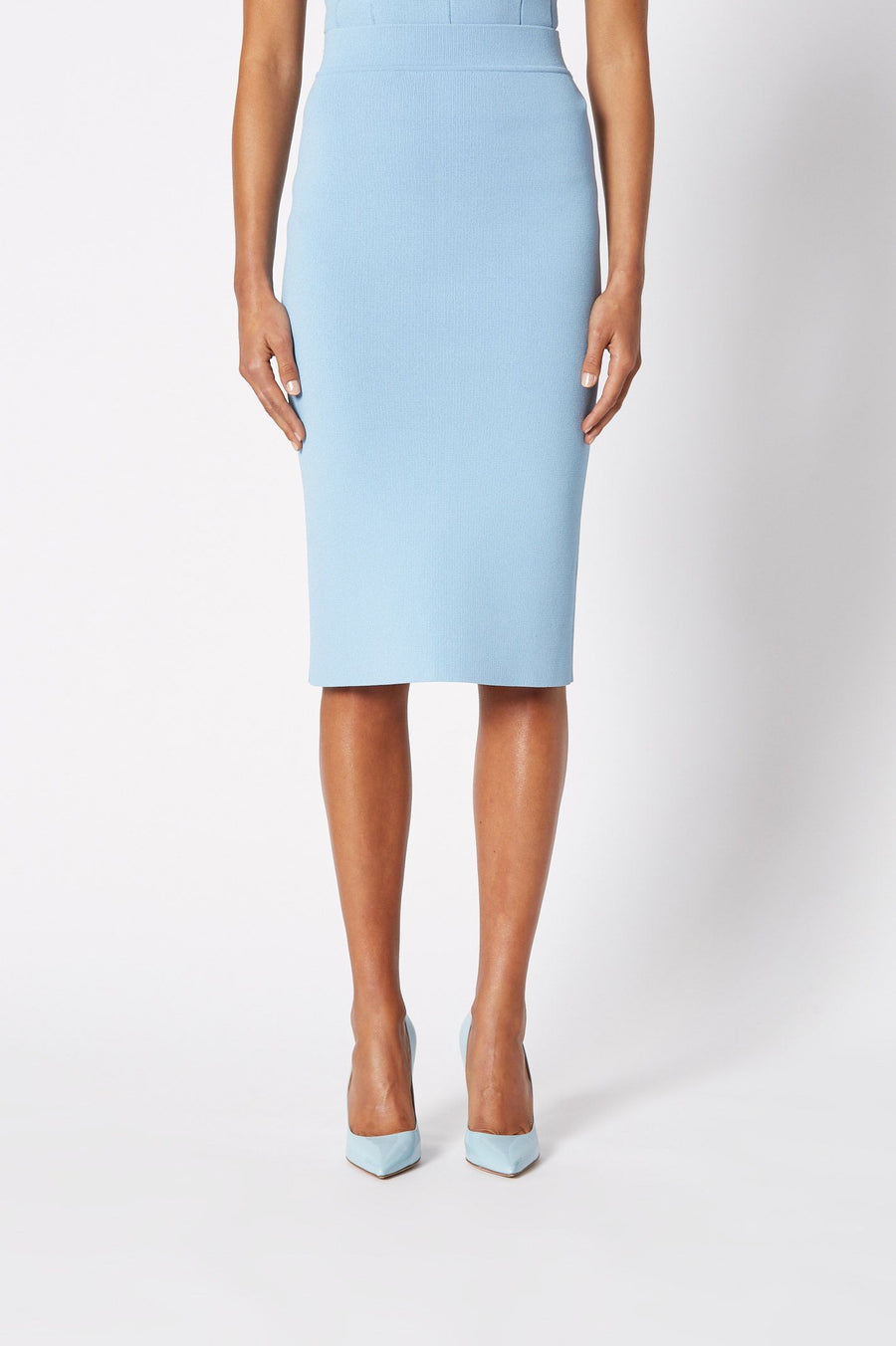 CREPE KNIT SLIT BACK SKIRT PALE BLUE, Slit back, Mid- stretch