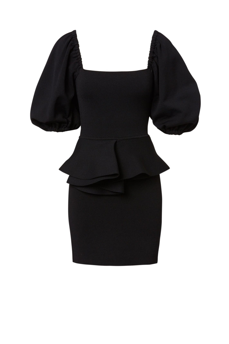 Crepe Knit Short Coupe Dress, Mini Length, Color Black, Peasant Sleeves, Ruffle At Waist