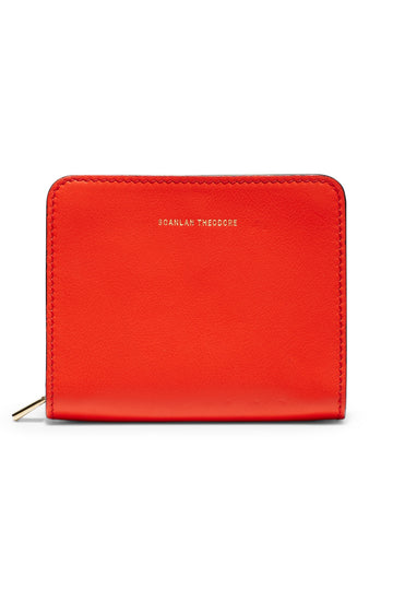 Small Wallet, four credit card slots, three internal compartments, gold contrast zip, gold embossed logo, color hibiscus