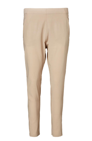 Silk Low Rise Boyfriend Pant, relaxed fit, incased elastic waist, dropped crotch, slanted pockets, Color Taupe