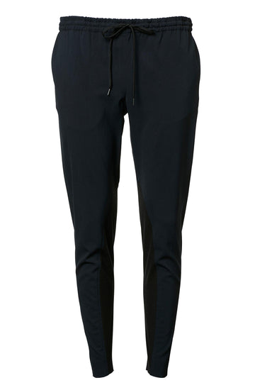 CREPE TRIM TROUSER NAVY BLACK, NAVY BLACK color
