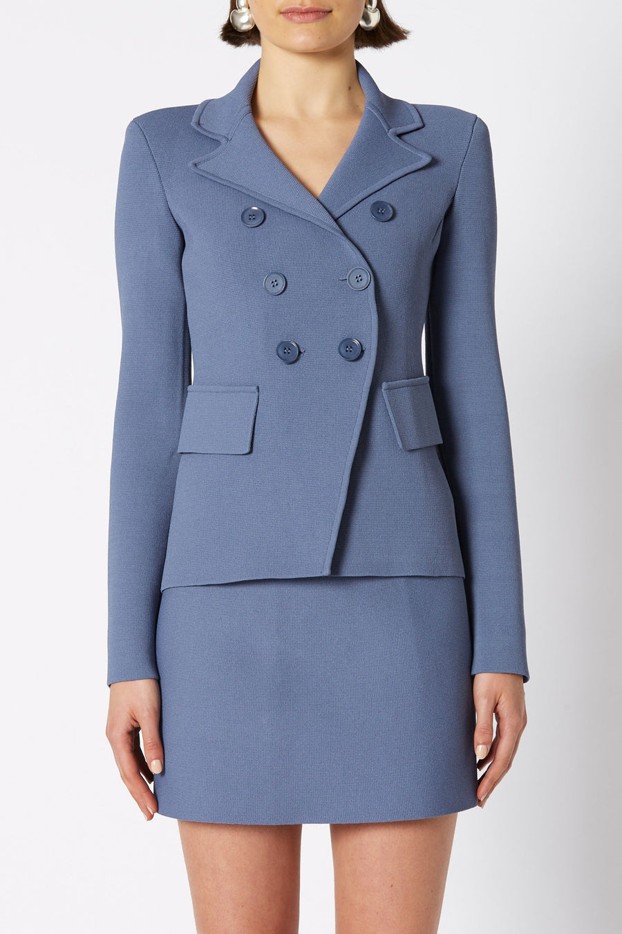 CREPE KNIT TAILORED JACKET, DOUBLE BREASTED, LONG SLEEVE, COLOR LIGHT INDIGO