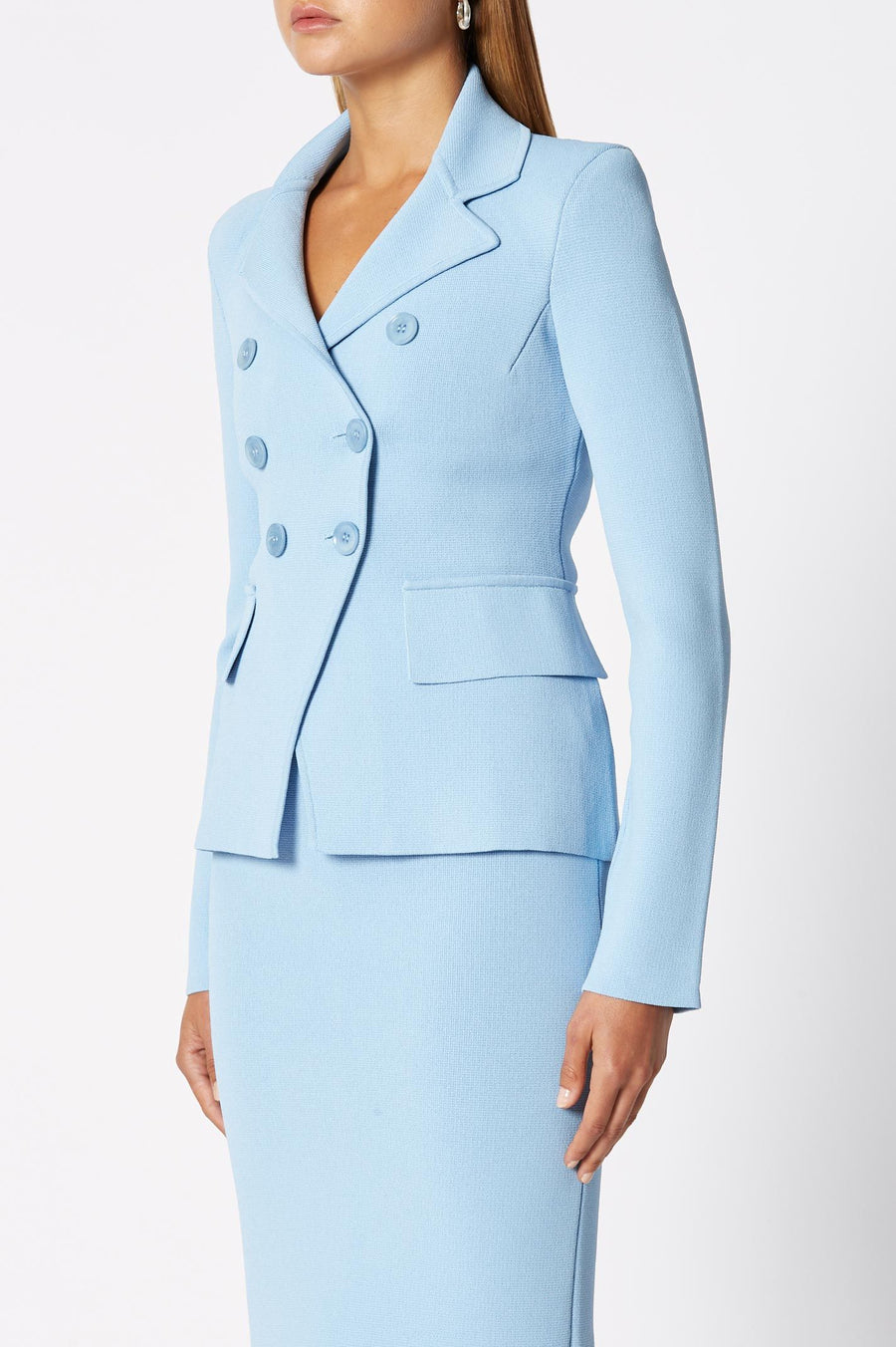 CREPE KNIT TAILORED JACKET PALE BLUE, Knit tailored double-breasted jacket, Flap pockets