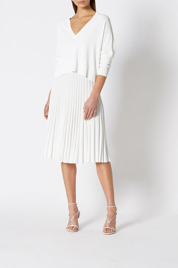 PLEATED RIB LONG SKIRT, HIGH WAISTED SKIRT WHICH FALLS BELOW KNEE, FLOWY STYLE, COLOR WHITE