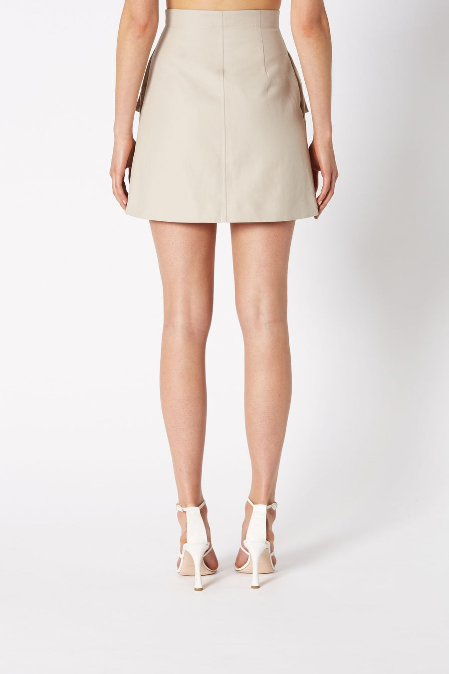 POCKET SKIRT FEATURING FRONT POCKETS WITH SIDE POCKETS ALSO, HIGH WAISTED A LINE SHORT STYLE, COLOR TRENCH