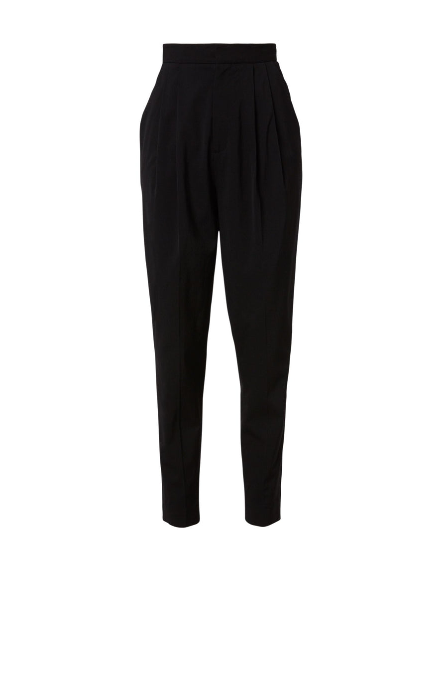 Tailored Pleat Trouser, Front Pockets, Ankle Length, Color Black