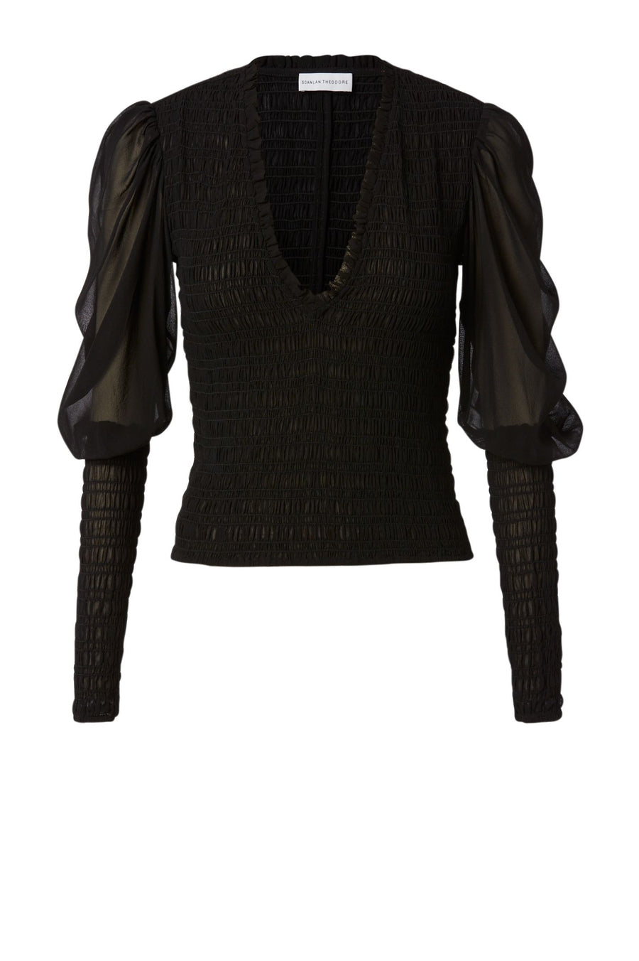 Shirred GGT Blouse Black, Slim Fit, Sheer Sleeves, V Neckline, Blouson Sleeves