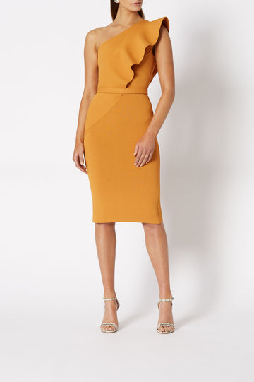 CREPE KNIT RUFFLE DRESS AMBER