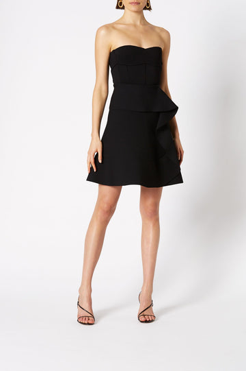 Crepe Knit Ruffle Skirt, Mini Length, Contoured A-Line, Ruffle Detail, Color Black