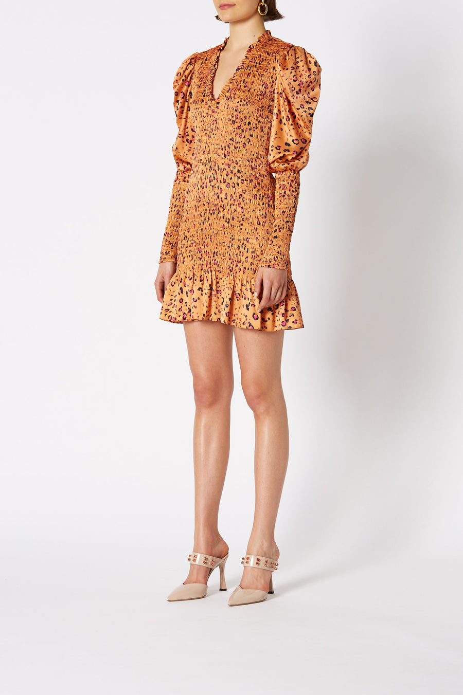 SILK LEOPARD SHIRRED DRESS PAPAYA
