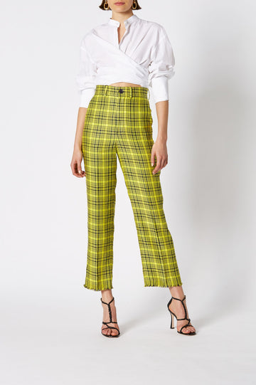 PLAID NEON WOVEN TROUSER, HIGH WAISTED AND FALLS JUST ABOVE ANKLE, RELAXED FIT, COLOR YELLOW BLACK