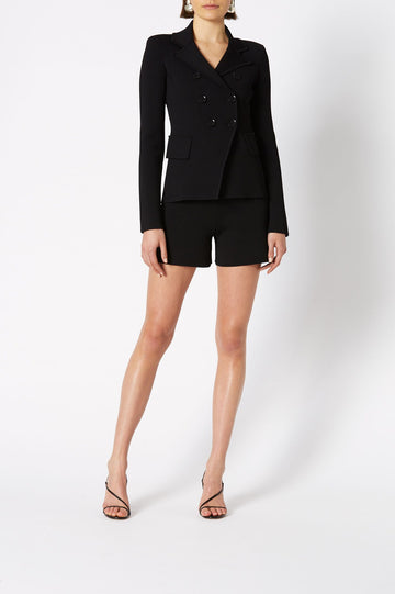 CREPE KNIT TAILORED JACKET, DOUBLE BREASTED, LONG SLEEVE, COLOR BLACK
