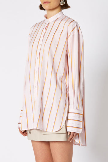 COLLAR STAND SHIRT, oversized button down with slim collar and long sleeves, color pale pink stripe