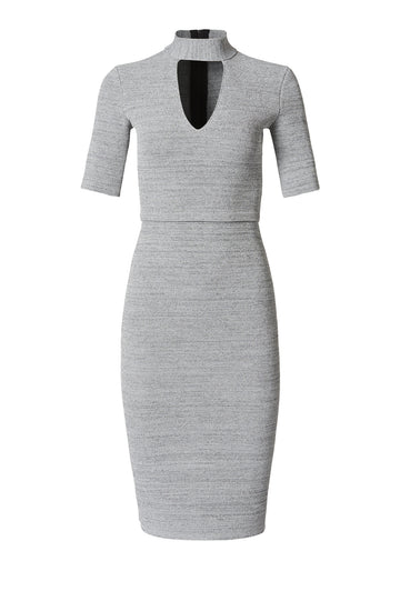 CREPE KNIT TWEED DRESS SMOKE