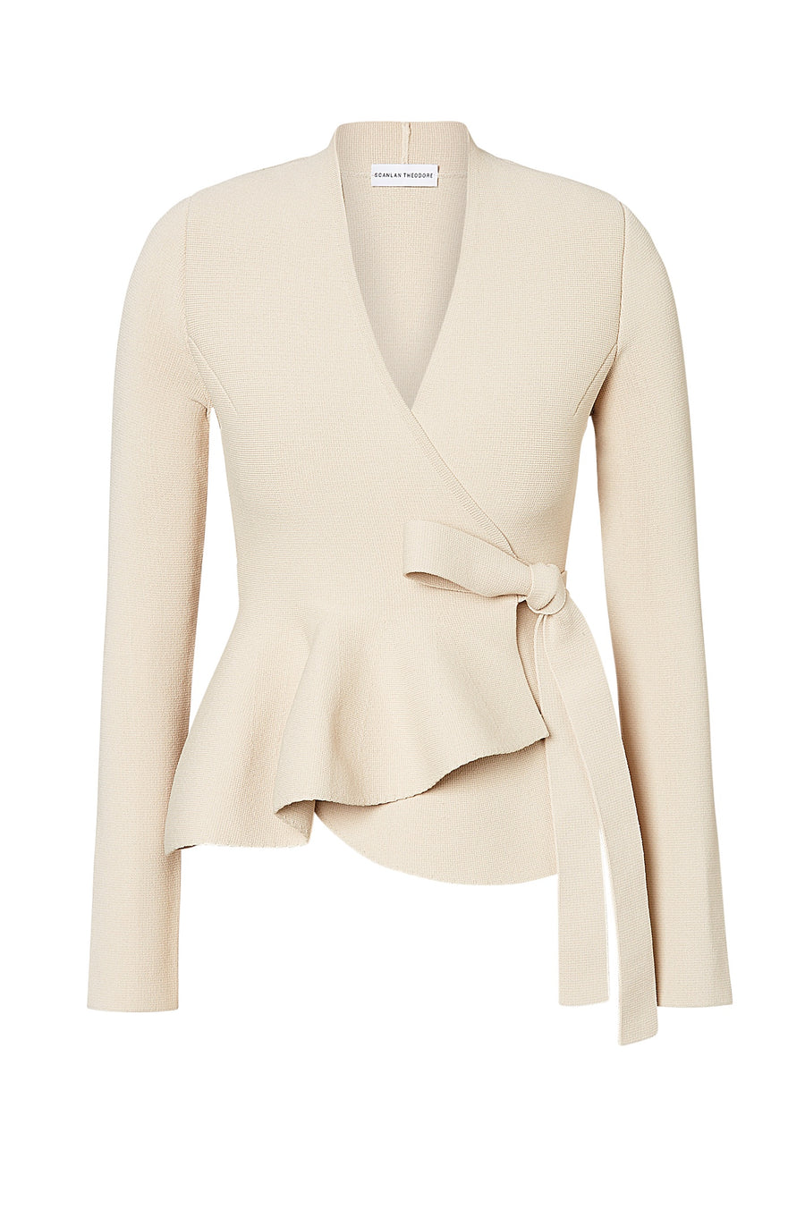 CREPE KNIT WRAP JACKET, Ruffle Peplum, Side Tie, Color Papiro