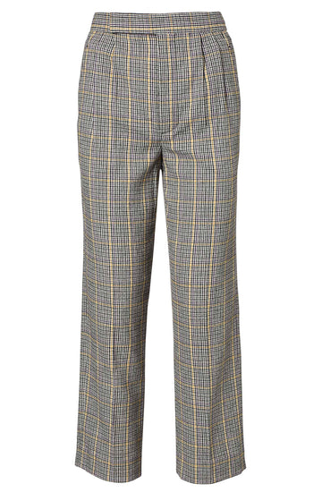 Plaid Pleat Front Trouser, Italian wool, high, gathered waist trouser, slightly cropped legs, side pockets, color grey