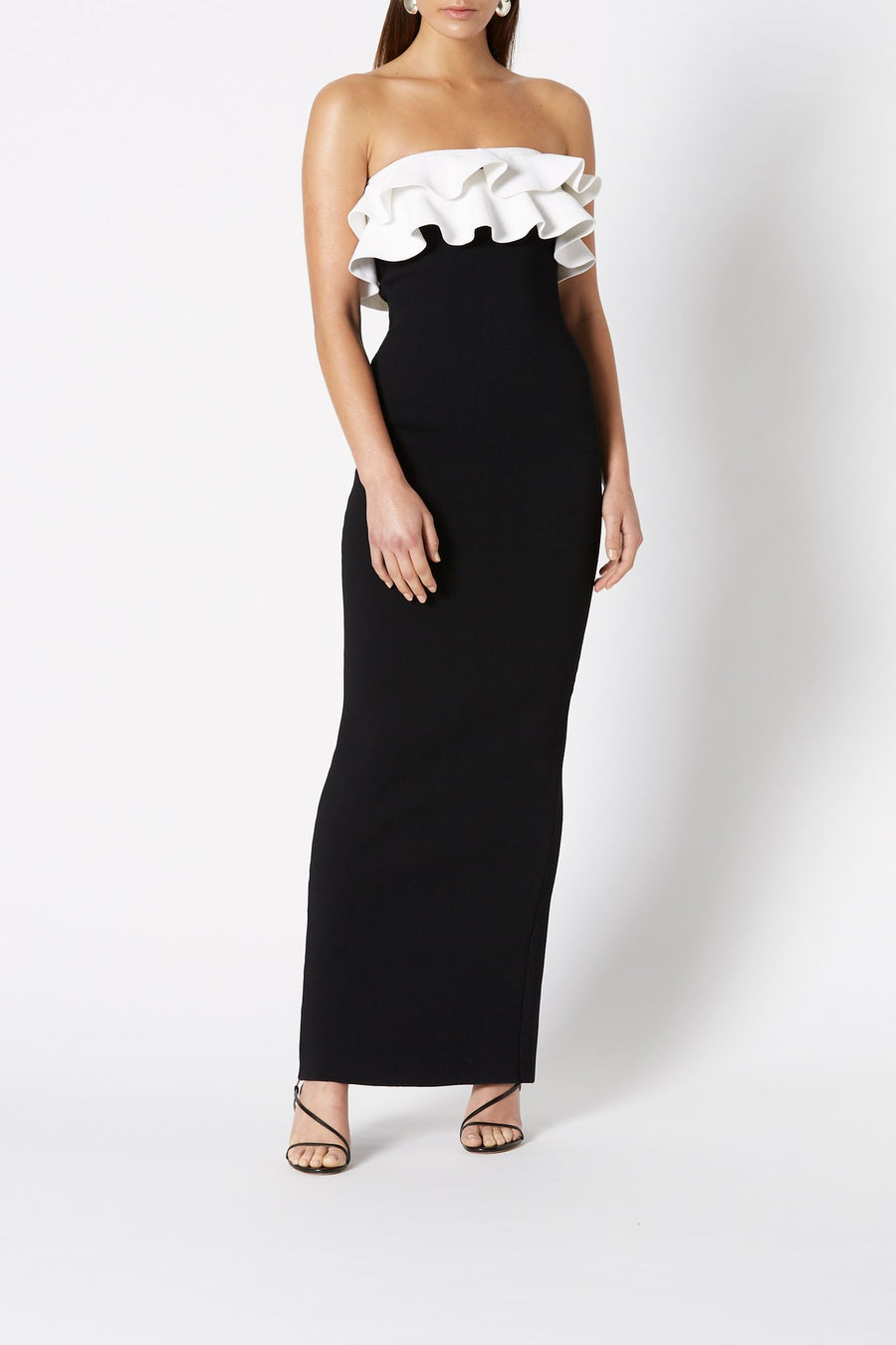 Crepe Knit Gown, Strapless Bodycon Long Dress, Ruffled Top, Color Black and white