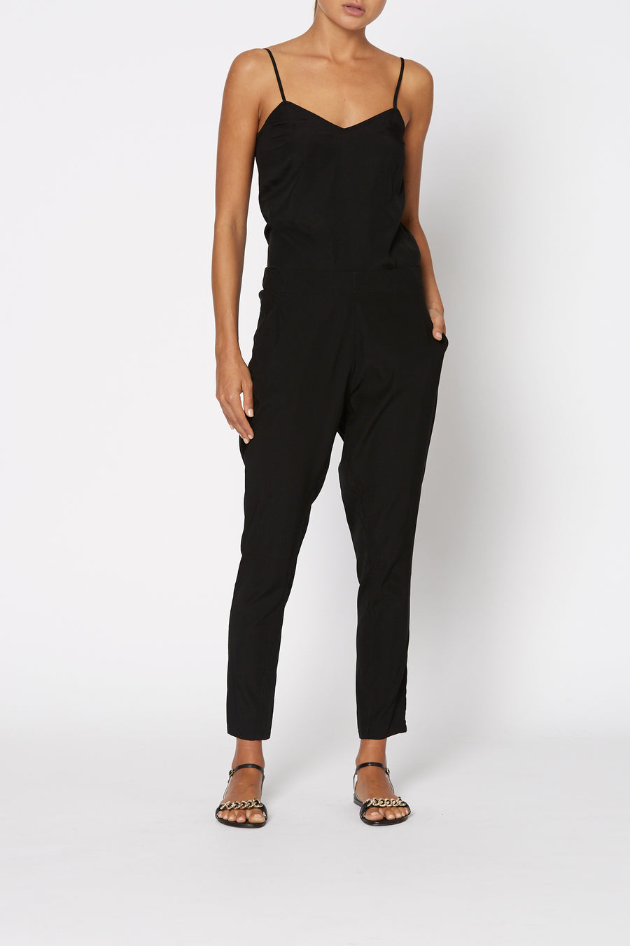 SILK LOW RISE BOYFRIEND PANT BLACK
