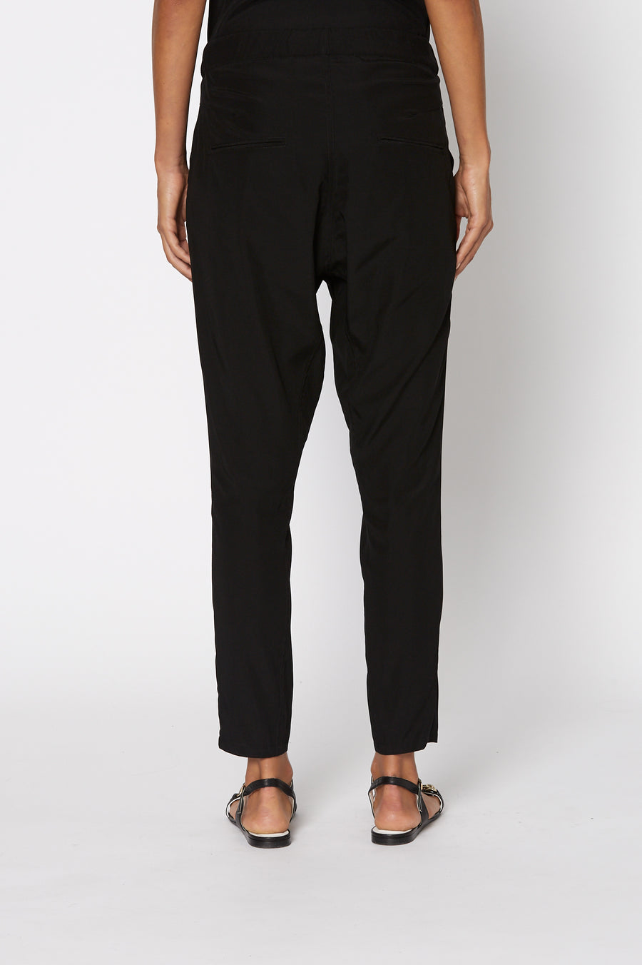Silk Low Rise Boyfriend Pant, relaxed fit, incased elastic waist, dropped crotch, slanted pockets, Color Black