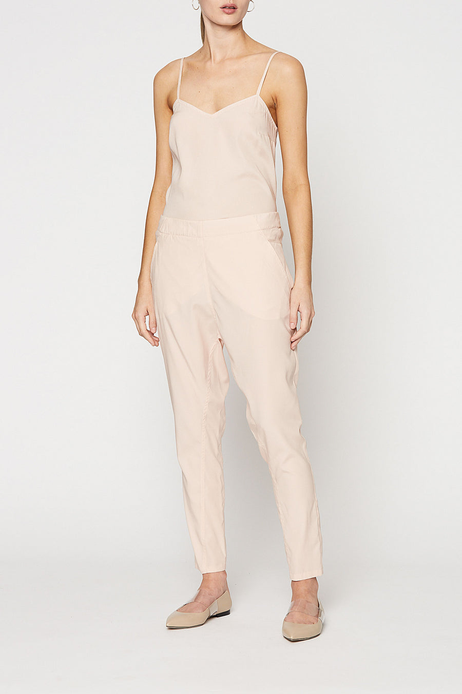 Silk Low Rise Boyfriend Pant, relaxed fit, incased elastic waist, dropped crotch, slanted pockets, Color Pale Pink