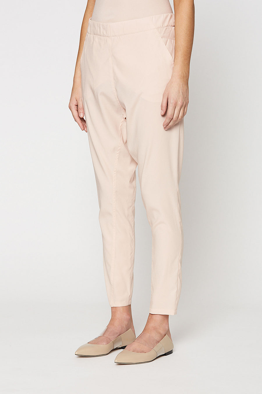 SILK LOW RISE BOYFRIEND PANT, PALE PINK color