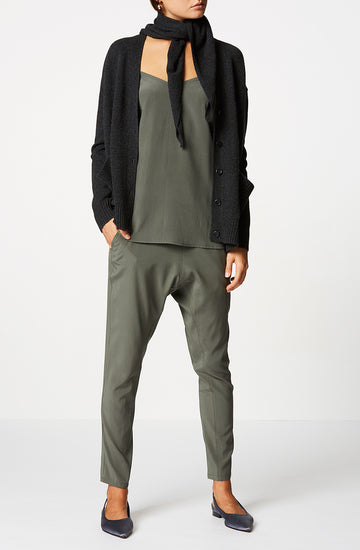 Silk Low Rise Boyfriend Pant, relaxed fit, incased elastic waist, dropped crotch, slanted pockets, Color Jungle