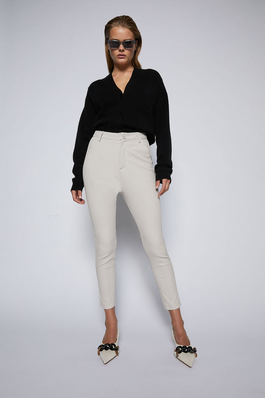 Stretch Leather Slim Low Rise Trouser Chalk - Scanlan Theodore