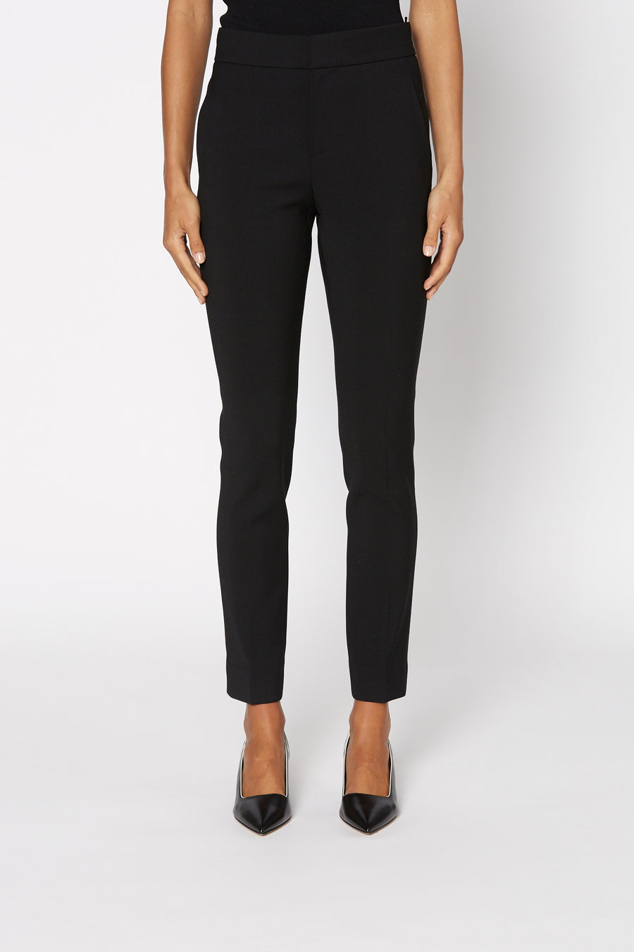 Atelier Slim Bootcut Trouser, bootcut style, welt and a flap back pocket, hook and bar closure, Color Black