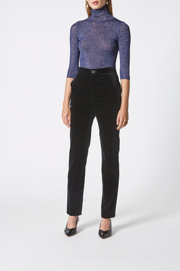 Velvet Slim Cropped Trouser, high waist, slim-leg silhouette, zip and button fastening at front, side pockets, color navy