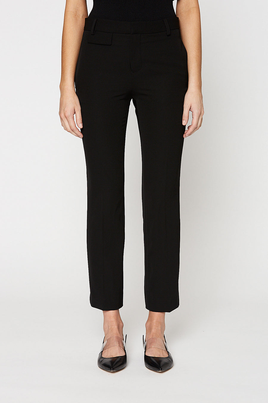 Slim Bootcut Trouser, sits high on the waist, zip and button fastening, bootcut hem, Color Black