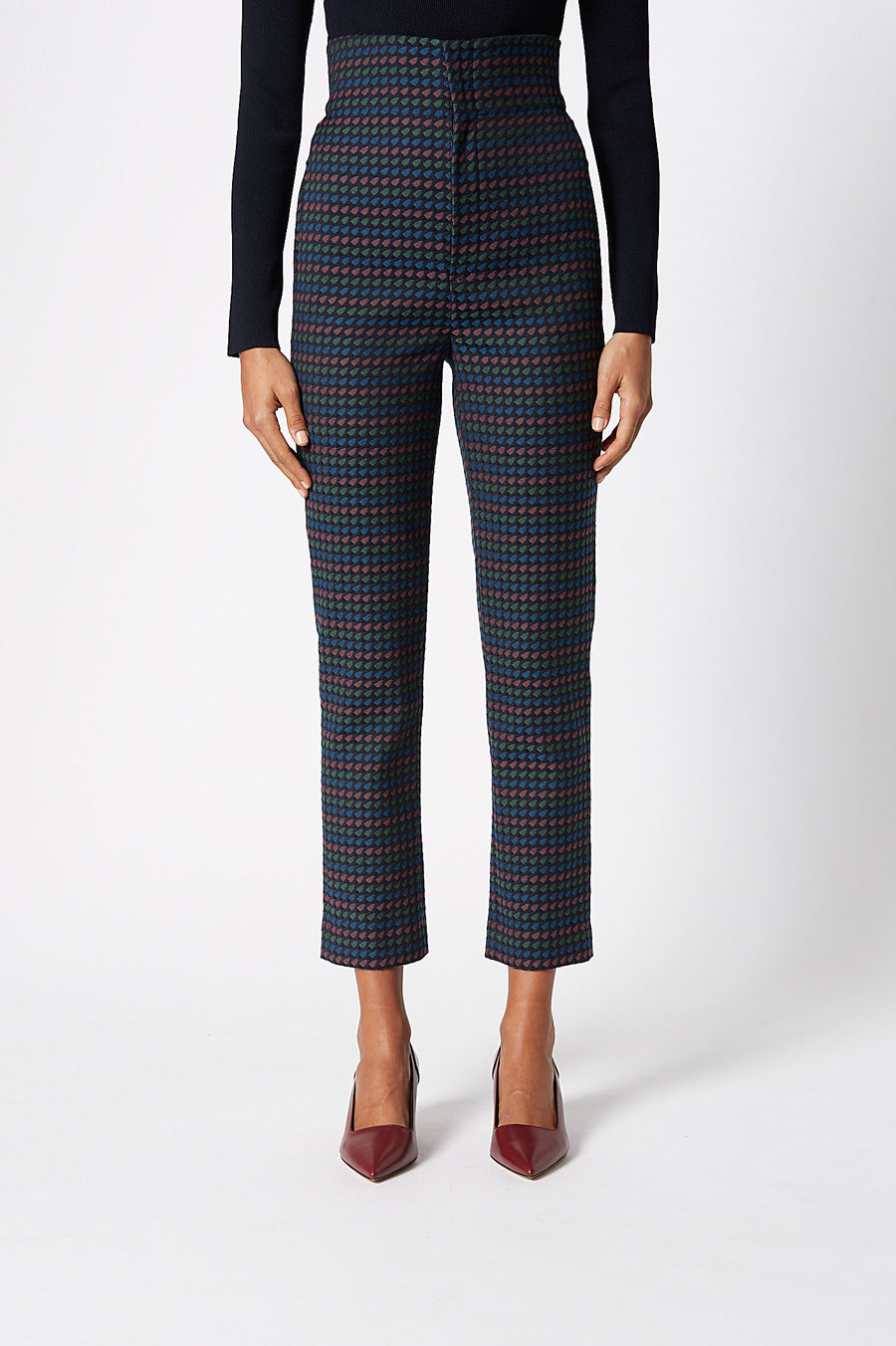 Jacquard High Waist Trouser, sits high on the waist, zip button fastening, belt loops on waistline, slim-leg silhouette, hits just above ankle, color navy