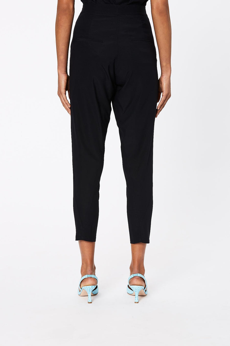 Silk Low Rise Button Pant Navy  - Scanlan Theodore