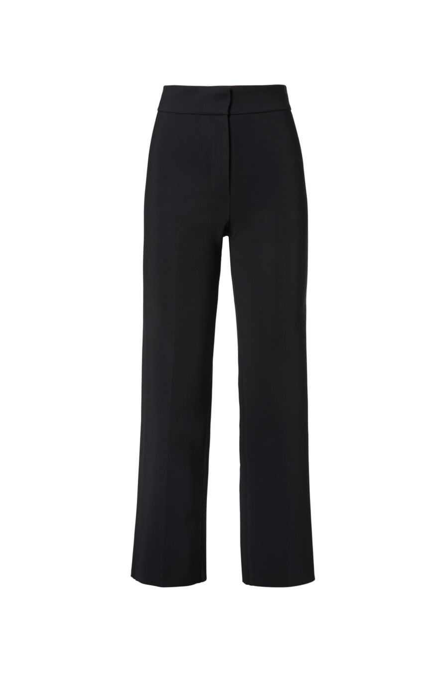 SCUBA PANT, HIGH WAISTED PANT, FLY FRONT CLOSURE, CENTRE FRONT CREASE AND RAW HEM, COLOR BLACK