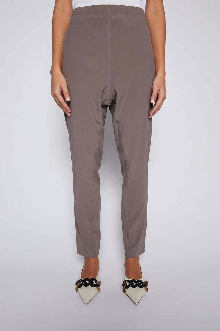 The Silk Low Rise Boyfriend Pant is a relaxed fit with an encased elastic waist