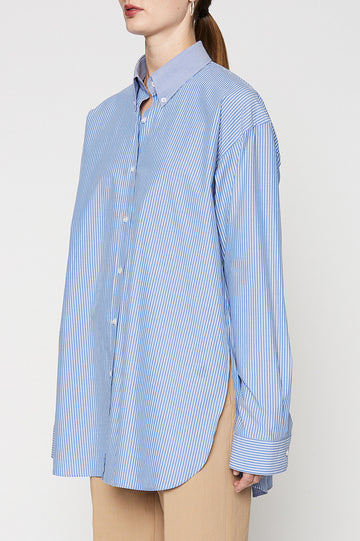 BUTTON COLLAR SHIRT, LONG SLEEVE, OVERSIZED, WHITE STRIPE BLUE color
