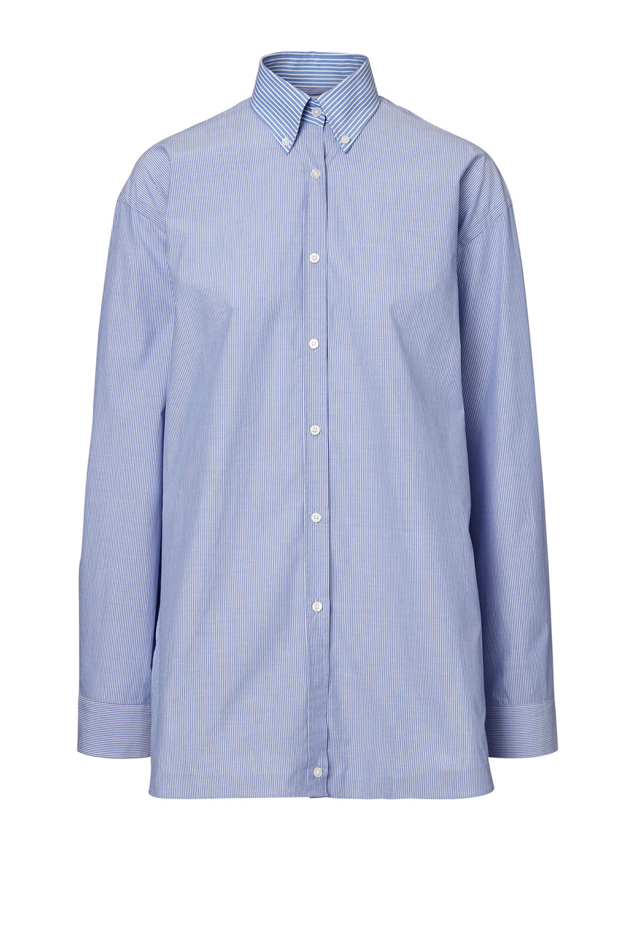 BUTTON COLLAR SHIRT, LONG SLEEVE, OVERSIZED, WHITE BLUE STRIPE color
