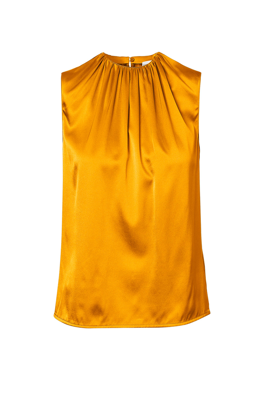 Silk Satin Tank, cut on the bias, soft drape with a slightly loose silhouette, High Neck, Color Boulevard