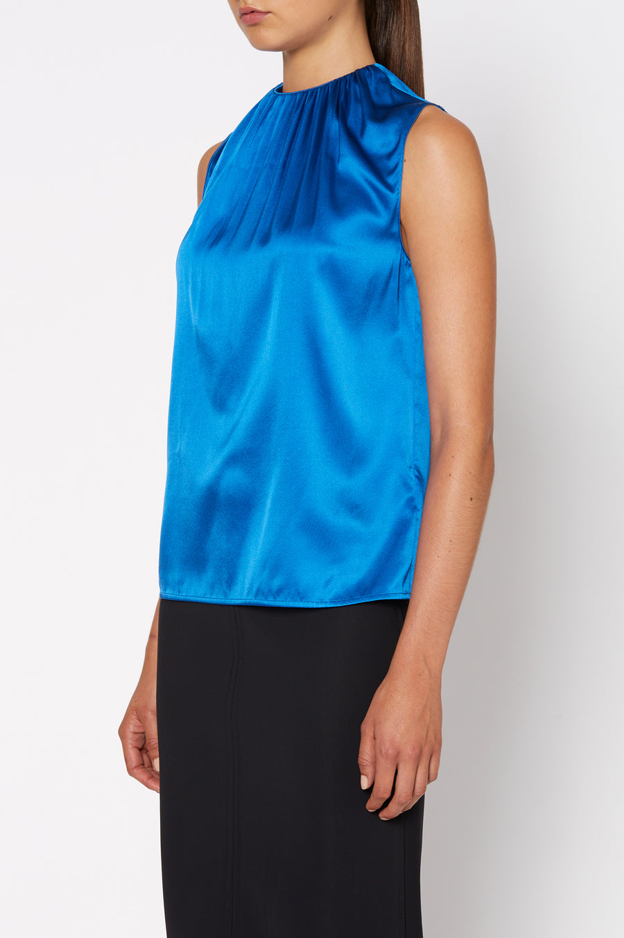 Silk Satin Tank, cut on the bias, soft drape with a slightly loose silhouette, High Neck, Color Peacock