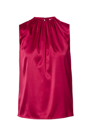 Silk Satin Tank, cut on the bias, soft drape with a slightly loose silhouette, High Neck, Color Raspberry